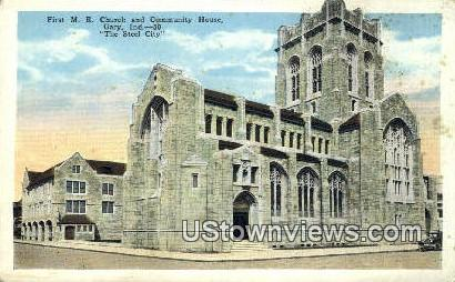 First ME Church - Gary, Indiana IN Postcard