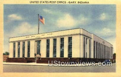 US Post Office, Gary - Indiana IN Postcard