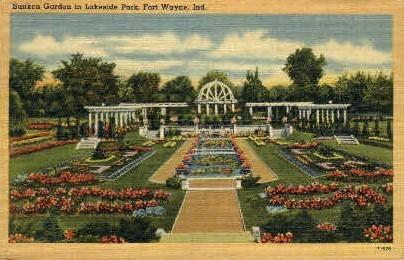 Sunken Garden  - Fort Wayne, Indiana IN Postcard