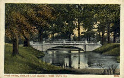 Highland Lawn Cemetery - Terre Haute, Indiana IN Postcard