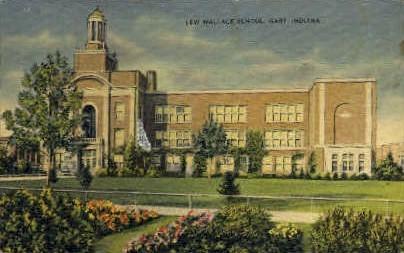 Lew Wallace School - Gary, Indiana IN Postcard