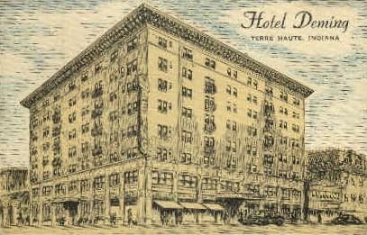 Hotel Deming - Terre Haute, Indiana IN Postcard