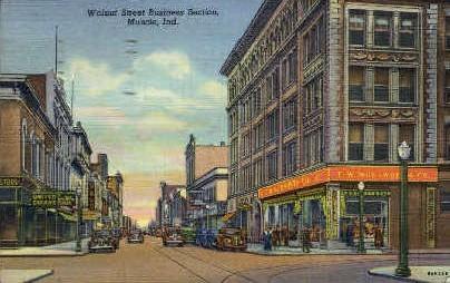Walnut St.  - Muncie, Indiana IN Postcard