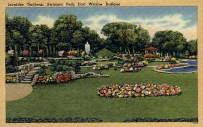 Jaenicke Gardens, Swinney Park - Fort Wayne, Indiana IN Postcard