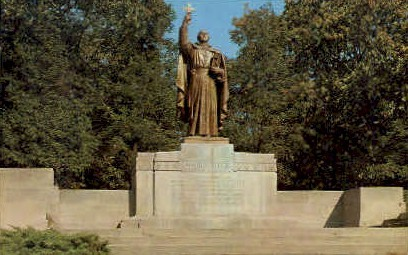 Statue of Jacques Marquette - Gary, Indiana IN Postcard