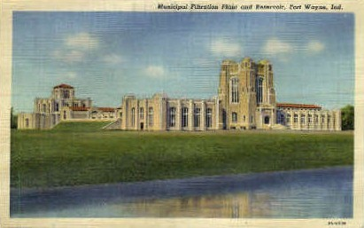 Municipal Filtration Plant & Reservoir - Fort Wayne, Indiana IN Postcard
