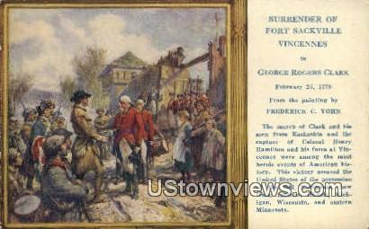 Surrender of Fort Sackville Vincennes - Misc, Indiana IN Postcard