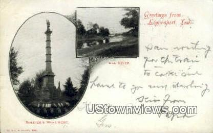 Soldier's Monument, Eel River - Logansport, Indiana IN Postcard