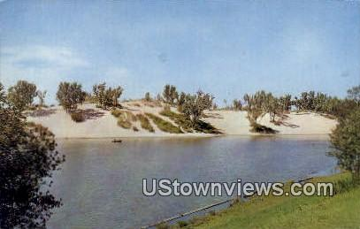 Marquette Lagoon & Dunes - Gary, Indiana IN Postcard
