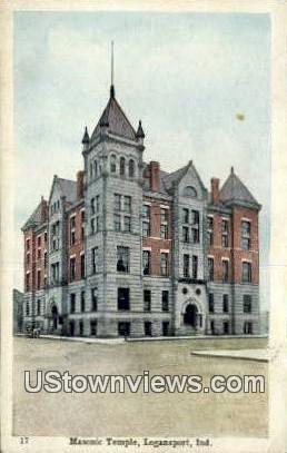 Masonic Temple - Logansport, Indiana IN Postcard