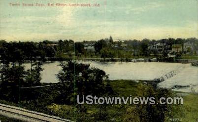 Tenth Street Dam, Eel River - Logansport, Indiana IN Postcard