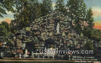 Grotto of Lourdes, St. Mary Woods College - Terre Haute, Indiana IN Postcard