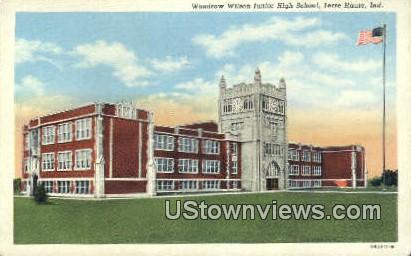Woodrow Wilson Junior High School - Terre Haute, Indiana IN Postcard