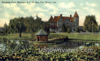 Brookside Farm, Residence of JH Bass - Fort Wayne, Indiana IN Postcard