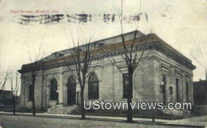 Post Office, Muncie - Indiana IN Postcard