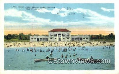 Lake Front Park Beach - Gary, Indiana IN Postcard