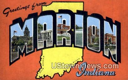 Greetings From - Marion, Indiana IN Postcard