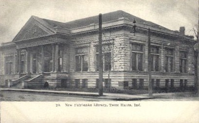 New Fairbanks Library - Terre Haute, Indiana IN Postcard