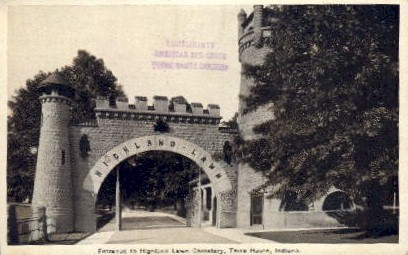 Highland Lawn Cemetary - Terre Haute, Indiana IN Postcard