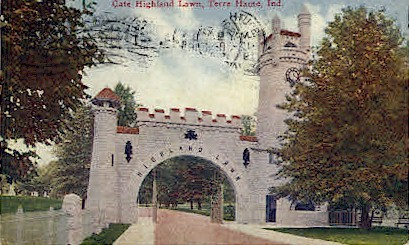 Gate Highland Lawn - Terre Haute, Indiana IN Postcard
