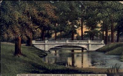 Stone Bridge, Highland Lawn - Terre Haute, Indiana IN Postcard