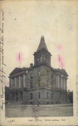 Post Office - Terre Haute, Indiana IN Postcard