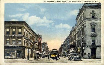 Fourth Street - Logansport, Indiana IN Postcard