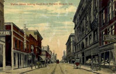 Walnut Street - Muncie, Indiana IN Postcard