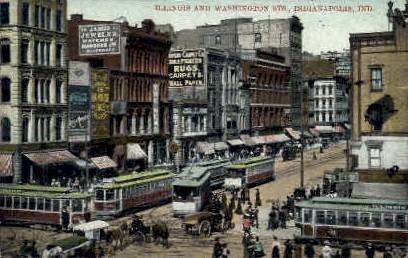 Illinois & Washington Streets  - Indianapolis Postcards, Indiana IN Postcard