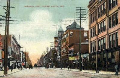 Wabash Avenue  - Terre Haute, Indiana IN Postcard