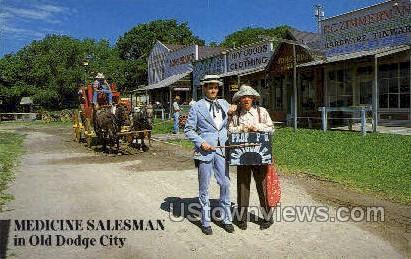 Medicine Salesman - Dodge City, Kansas KS Postcard