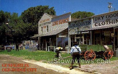 Gun fighting - Dodge City, Kansas KS Postcard