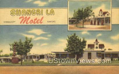 Shangri La Motel - Dodge City, Kansas KS Postcard
