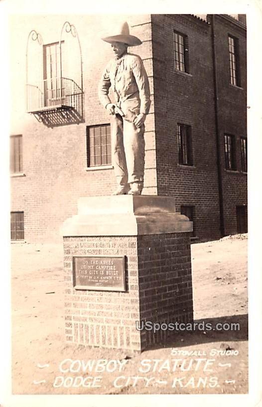 Cowboy Statue - Dodge City, Kansas KS Postcard