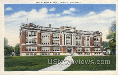 Senior High School - Emporia, Kansas KS Postcard