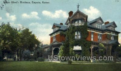 Mayor Hood's Residence - Emporia, Kansas KS Postcard