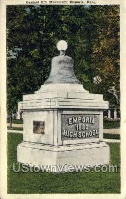 Garfield Bell Monument - Emporia, Kansas KS Postcard
