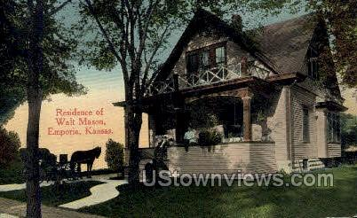 Residence of Walt Mason - Emporia, Kansas KS Postcard