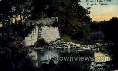Ruins of Patty's Mill - Emporia, Kansas KS Postcard