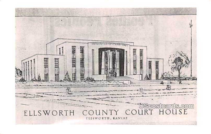 Ellsworth County Court House - Kansas KS Postcard