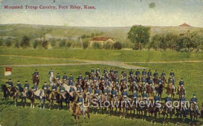 Mounted Troup Cavalry - Fort Riley, Kansas KS Postcard
