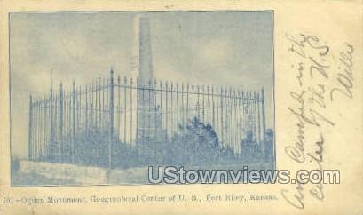 Ogden Monument - Fort Riley, Kansas KS Postcard