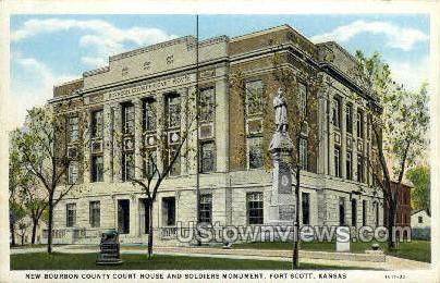 Bourbon County Court House - Fort Riley, Kansas KS Postcard