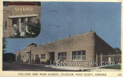College School Stadium - Fort Scott, Kansas KS Postcard
