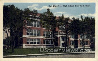 New Fire Proof High School - Fort Scott, Kansas KS Postcard