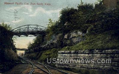 Missouri Pacific Cut - Fort Scott, Kansas KS Postcard