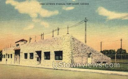 High School Stadium - Fort Scott, Kansas KS Postcard