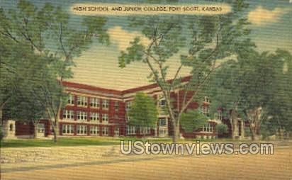 High School - Fort Scott, Kansas KS Postcard