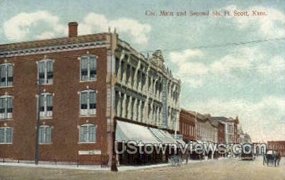Cor. Main & Second St - Fort Scott, Kansas KS Postcard