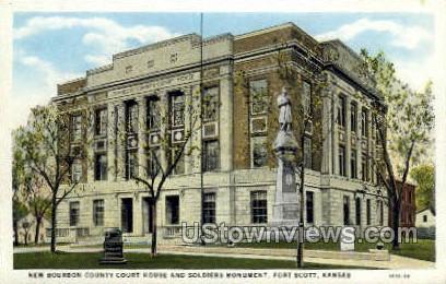 Bourbon County Court House - Fort Scott, Kansas KS Postcard